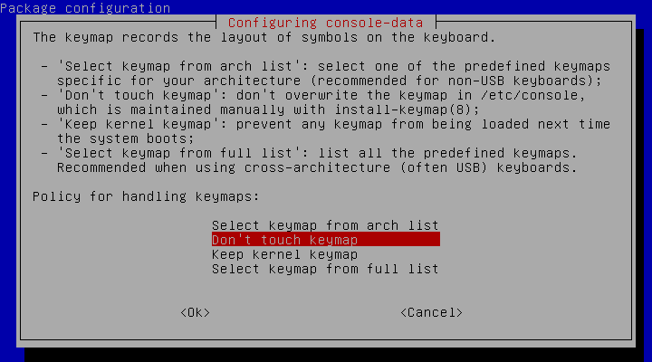 Shows screen with keymap question prompt.