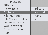 Shows desktop menu editors.