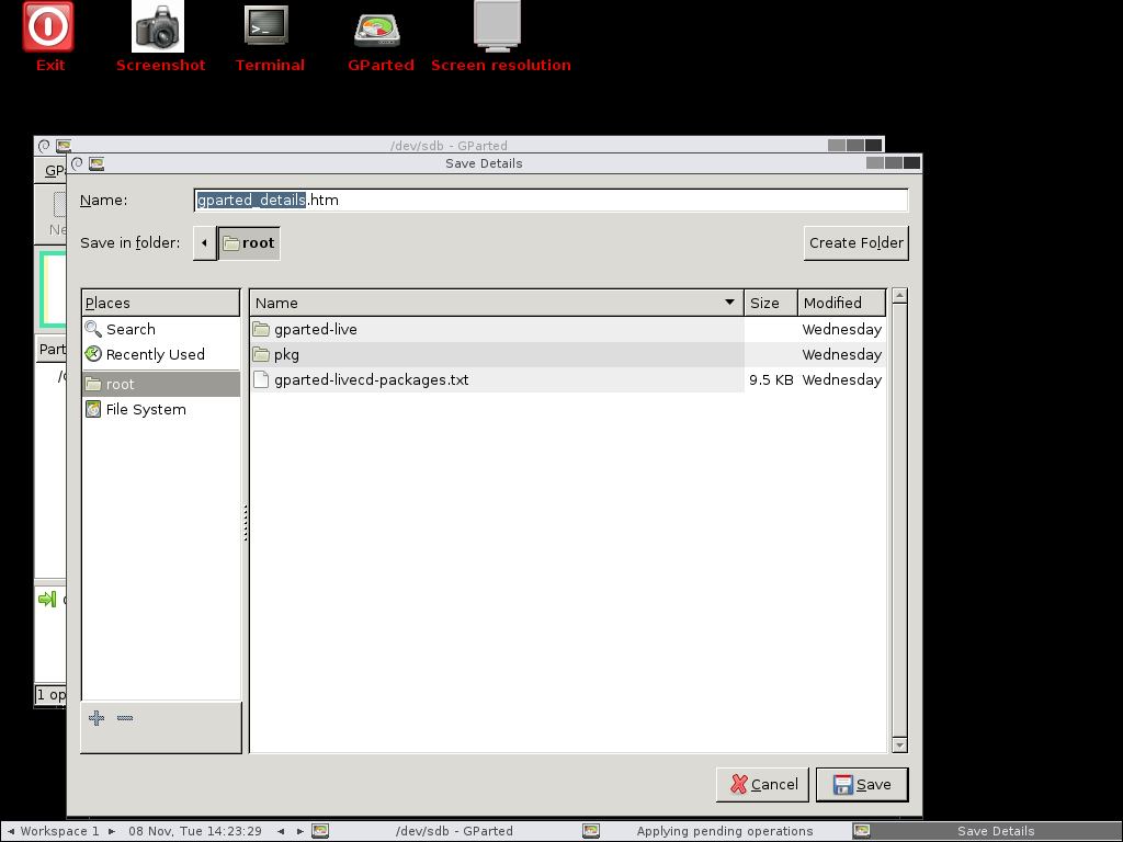 Shows save details window with gparted_details.htm filename and /root directory selected.