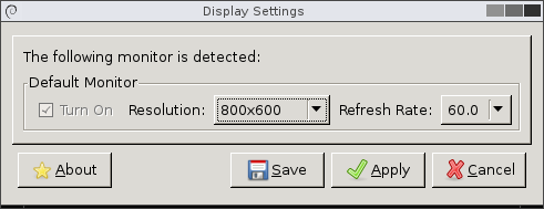 Shows screen resolution window.