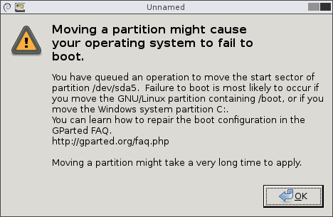 Warning window indicating that moving a partition might cause the operating system to fail to boot