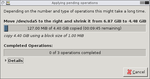 Applying pending operations window displaying progress bar growing from left to right